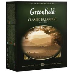"""Чай GREENFIELD (Гринфилд) """"Classic Breakfast"""", черный, 100 пакетиков в конвертах по 2 г"""