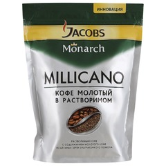 "Кофе молотый в растворимом JACOBS MONARCH ""Millicano"", 150 г, мягкая упаковка"