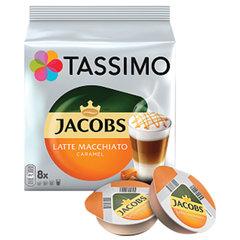 """Кофе в капсулах JACOBS """"Latte Macchiato Caramel"""" для кофемашин Tassimo, 8 порций (16 капсул)"""