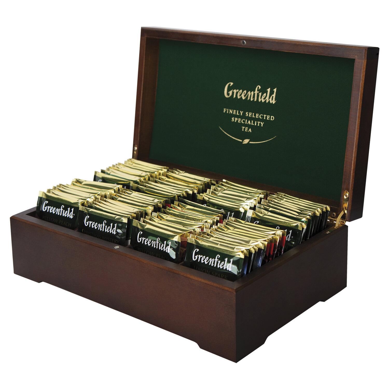 деревянная коробка для чая в пакетиках Greenfield
