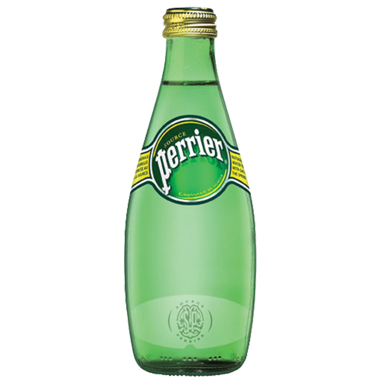 Вода ГАЗИРОВАННАЯ минеральная PERRIER (Перье), 0,33 л, стеклянная бутылка, ФРАНЦИЯ
