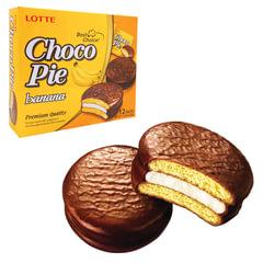 "Печенье LOTTE ""Choco Pie Banana"" (Чоко Пай Банан), глазированное, 336 г, 12 шт. х 28 г"