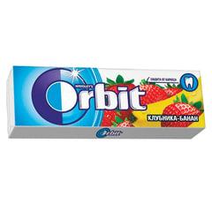 """Жевательная резинка ORBIT (Орбит) """"Клубника-банан"""", 10 подушечек, 13,6 г"""