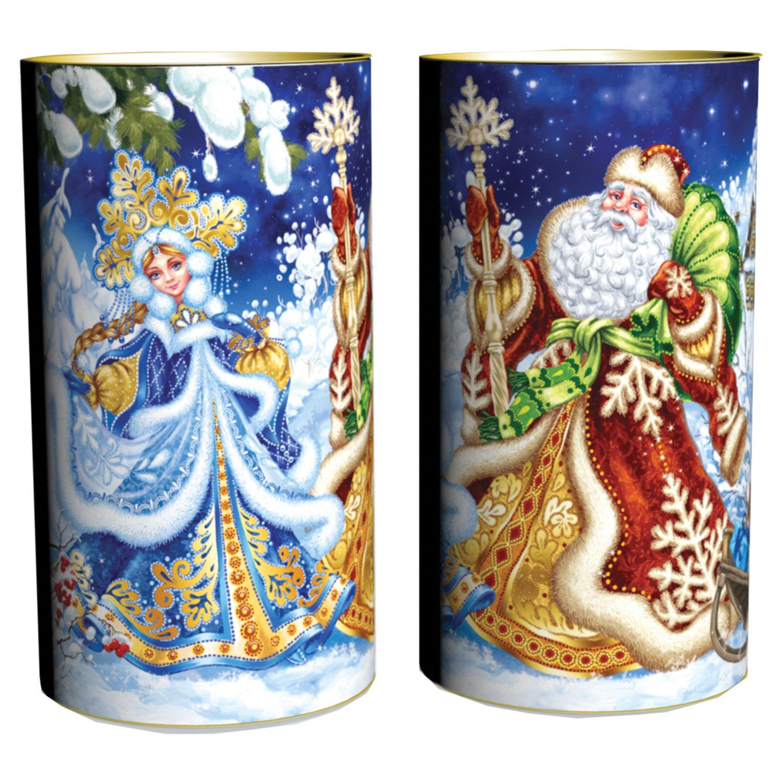 """Подарок новогодний """"Дед Мороз и Снегурочка"""" в тубе, 500 г, НАБОР конфет, картонная упаковка"""