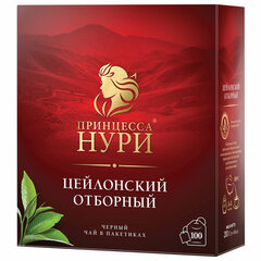 """Чай ПРИНЦЕССА НУРИ """"Цейлонский отборный"""", черный, 100 пакетиков по 2 г"""