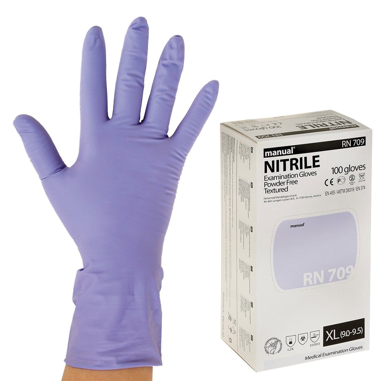 Перчатки нитриловые смотровые, КОМПЛЕКТ 50 пар (100 шт.), повышенная прочность, XL, MANUL RN709