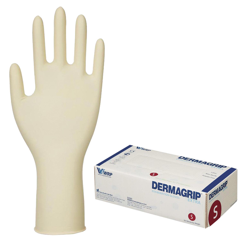 Перчатки латексные смотровые, КОМПЛЕКТ 25 пар (50 шт.), неопудренные, прочные, S, DERMAGRIP Extra