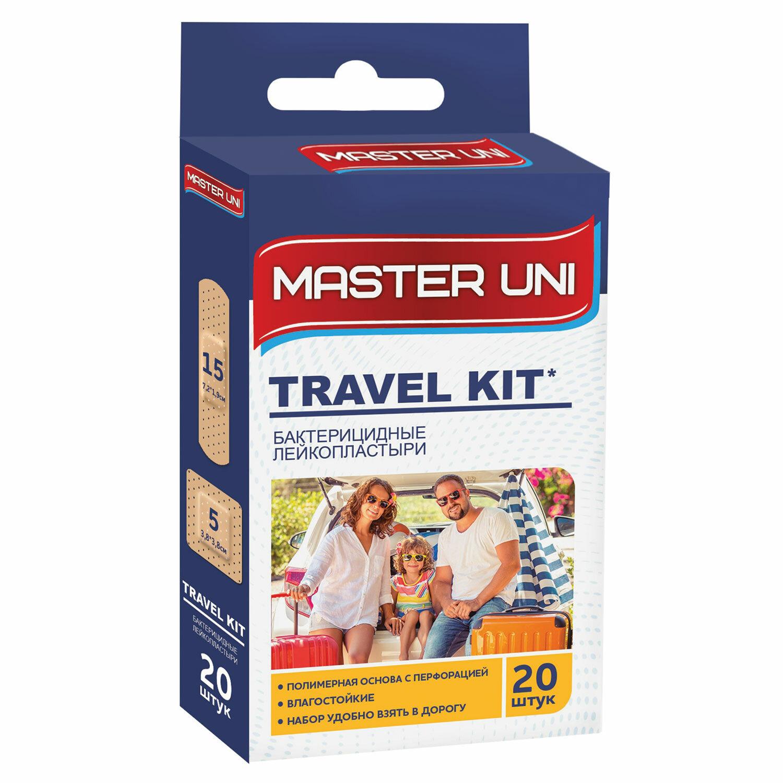 Набор пластырей 20 шт. MASTER UNI TRAVEL KIT, дорожный набор, на полимерной основе, с европодвесом