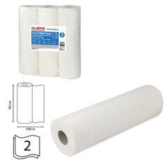 Простыни бумажные рулонные с перфорацией LAIMA UNIVERSAL КОМПЛЕКТ 3 шт., 2-слойные, 0,5х100 м, 17+17 г/м2, 630360