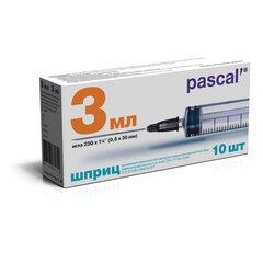 Шприц 3-х компонентный PASCAL, 3 мл, КОМПЛЕКТ 10 шт., в коробке, игла 0,6х30 - 23G