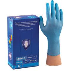 Перчатки нитриловые смотровые КОМПЛЕКТ 100 пар (200 шт.), размер M (средний), голубые, SAFE&CARE, TN 303