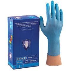Перчатки нитриловые смотровые КОМПЛЕКТ 100 пар (200 шт.), L (большой), голубые, SAFE&CARE, TN303/LN303
