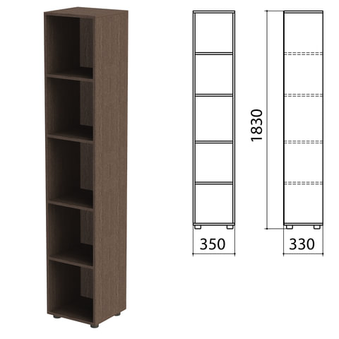 """Шкаф (стеллаж) """"Канц"""" 350х330х1830 мм, 4 полки, цвет венге"""
