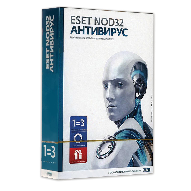 """Антивирус ESET NOD32 """"+Bonus"""", 3 ПК, 1 год или продление на 20 месяцев, ENA-1220BOX-1-1"""