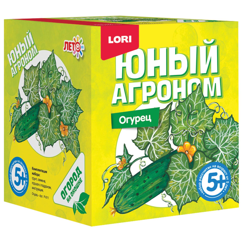 """Набор для выращивания растений ЮНЫЙ АГРОНОМ """"Огурец"""", горшок, грунт, семена, LORI, Р-011"""