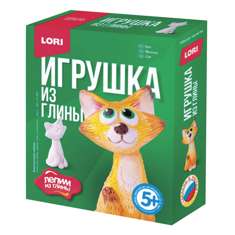 """Набор для изготовления игрушки из глины """"Кот"""", глина, краски, стек, LORI, Гл-004"""