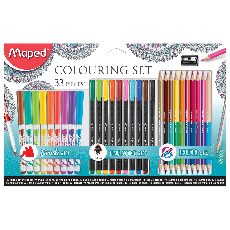"""Набор для творчества MAPED """"Colouring Set"""", 10 фломастеров, 10 капиллярных ручек, 12 двусторонних цветных карандашей, точилка, 897417"""