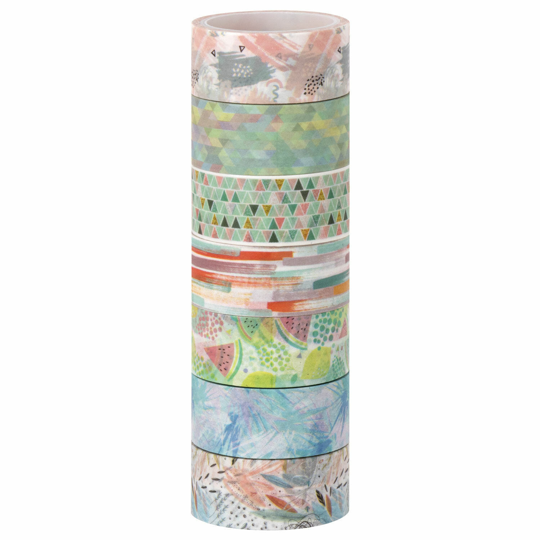"""Клейкие WASHI-ленты для декора """"Микс №1"""", 15 мм х 3 м, 7 цветов, рисовая бумага, ОСТРОВ СОКРОВИЩ, 661709"""