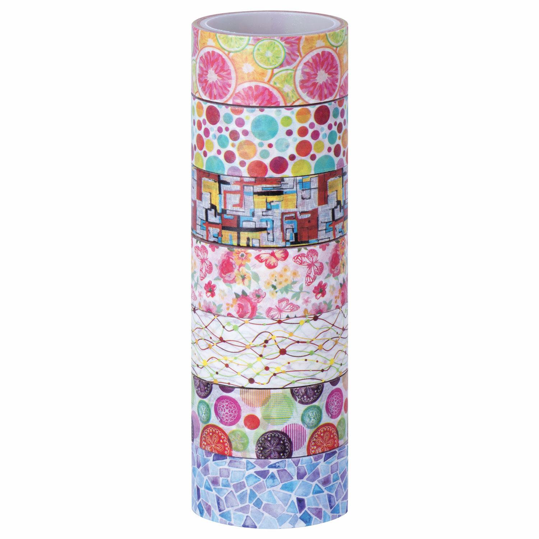"""Клейкие WASHI-ленты для декора """"Микс №2"""", 15 мм х 3 м, 7 цветов, рисовая бумага, ОСТРОВ СОКРОВИЩ, 661710"""