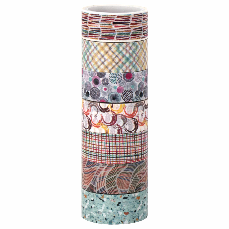 """Клейкие WASHI-ленты для декора """"Микс №3"""", 15 мм х 3 м, 7 цветов, рисовая бумага, ОСТРОВ СОКРОВИЩ, 661711"""