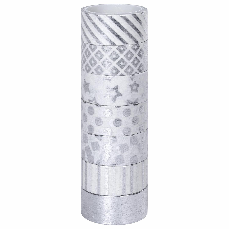 Клейкие WASHI-ленты для декора с фольгой СЕРЕБРИСТЫЕ, 15 мм х 3 м, 7 шт., рисовая бумага, ОСТРОВ СОКРОВИЩ, 661713