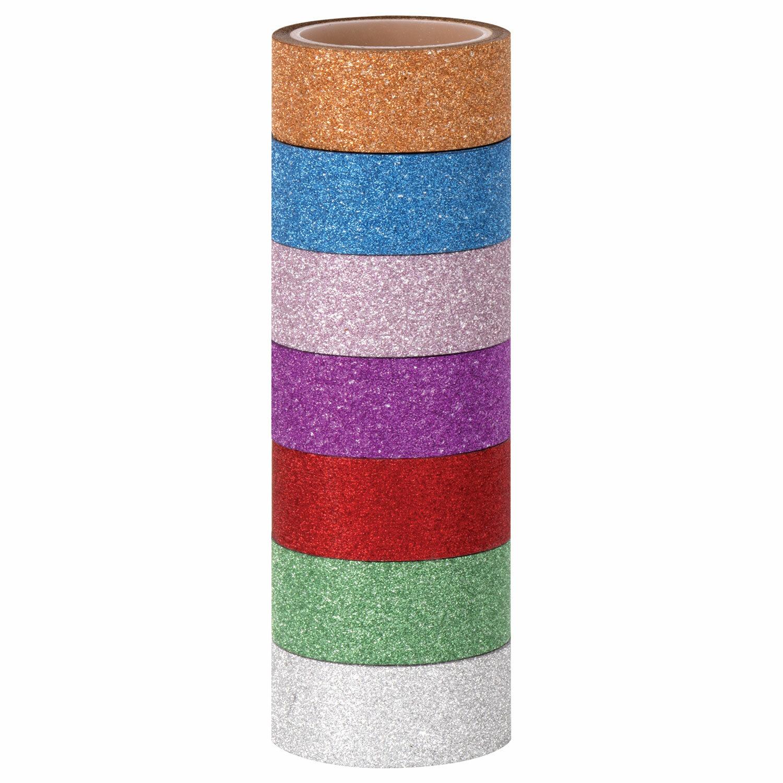 """Клейкие ленты полимерные для декора с блестками """"ИНТЕНСИВ"""", 15 мм х 3 м, 7 цветов, ОСТРОВ СОКРОВИЩ, 661715"""