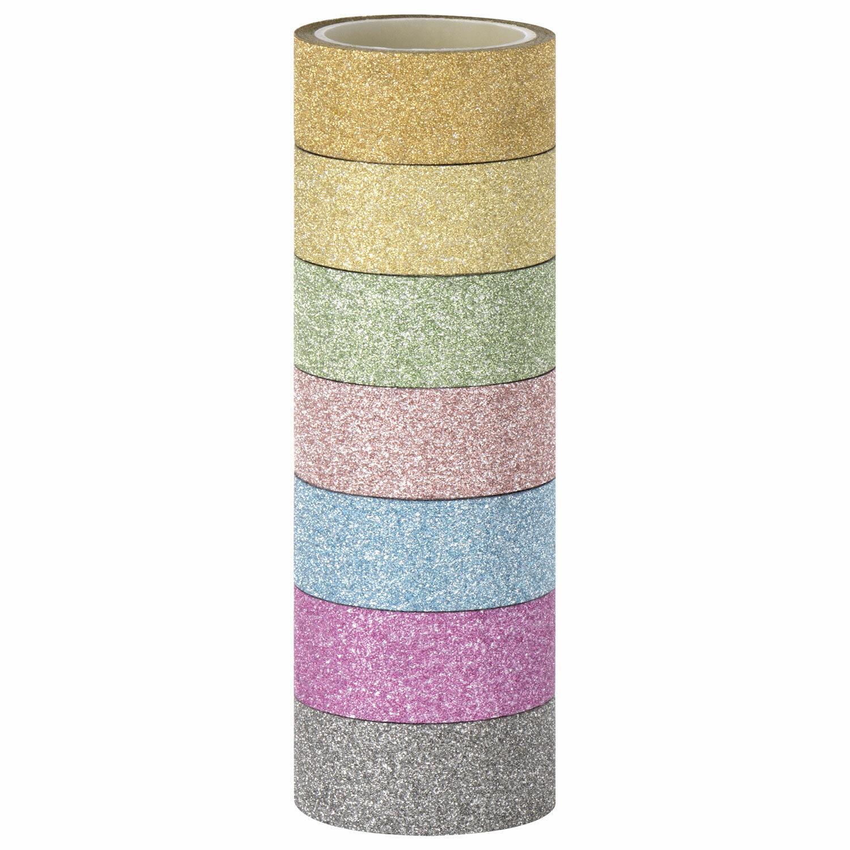 """Клейкие ленты полимерные для декора с блестками """"ПАСТЕЛЬ"""", 15 мм х 3 м, 7 цветов, ОСТРОВ СОКРОВИЩ, 661716"""
