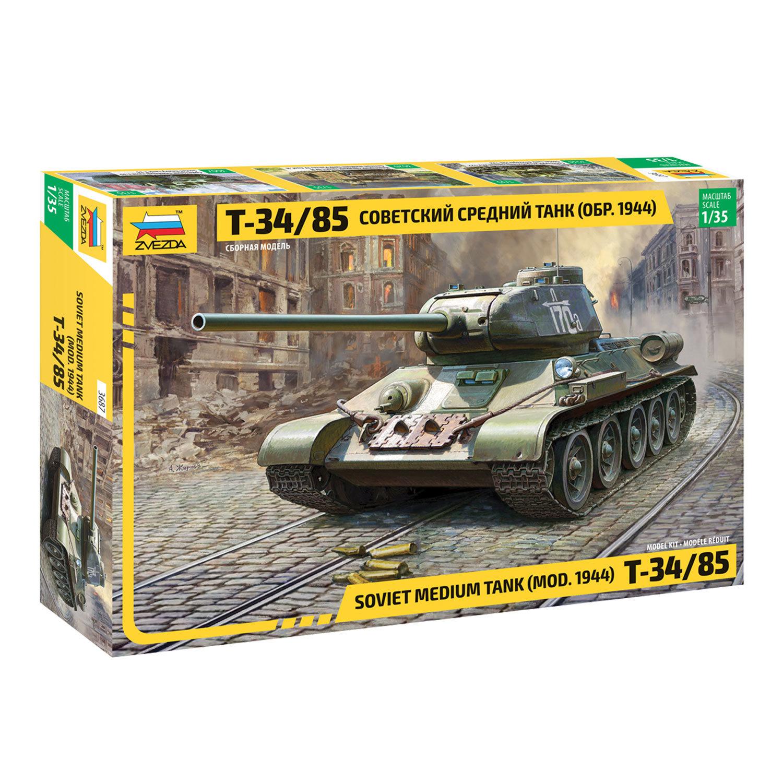 Модель для склеивания ТАНК Средний советский Т-34/85 образца 1944, масштаб 1:35, ЗВЕЗДА