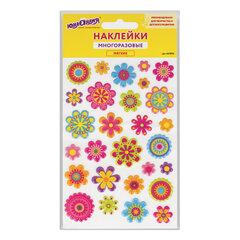 """Наклейки зефирные """"Цветы"""", многоразовые, перламутровые, 10х15 см, ЮНЛАНДИЯ, 661836"""