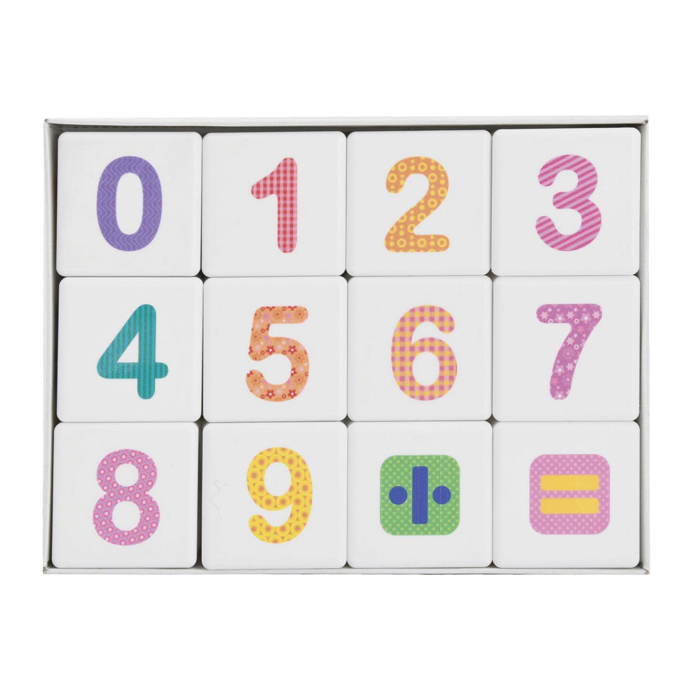 """Кубики пластиковые """"Весёлая арифметика"""" 12 шт., 4х4х4 см, цветные цифры на белых кубиках, 10 КОРОЛЕВСТВО, 708"""