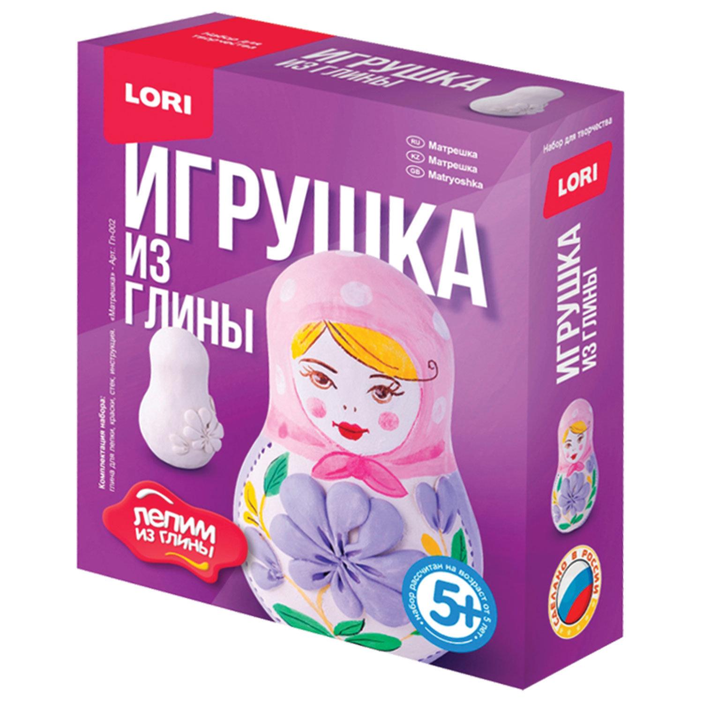 "Набор для изготовления игрушки из глины ""Матрешка"", глина, краски, стек, LORI, Гл-002"