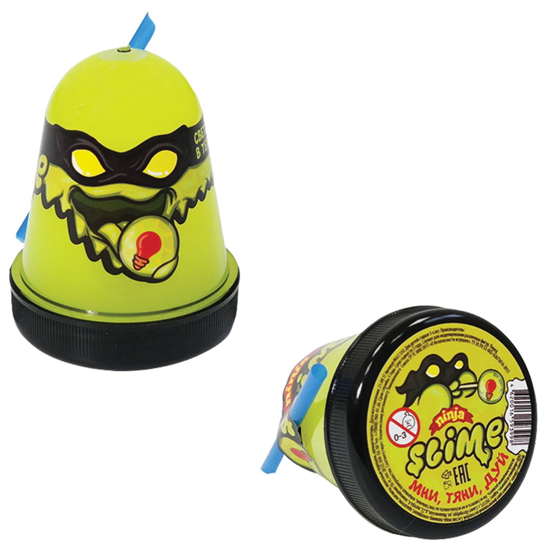 """Слайм (лизун) """"Slime Ninja"""", светится в темноте, желтый, 130 г, ВОЛШЕБНЫЙ МИР, S130-19"""