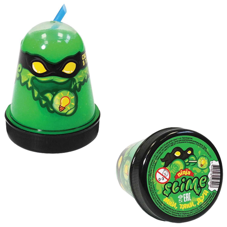 """Слайм (лизун) """"Slime Ninja"""", светится в темноте, зеленый, 130 г, ВОЛШЕБНЫЙ МИР"""