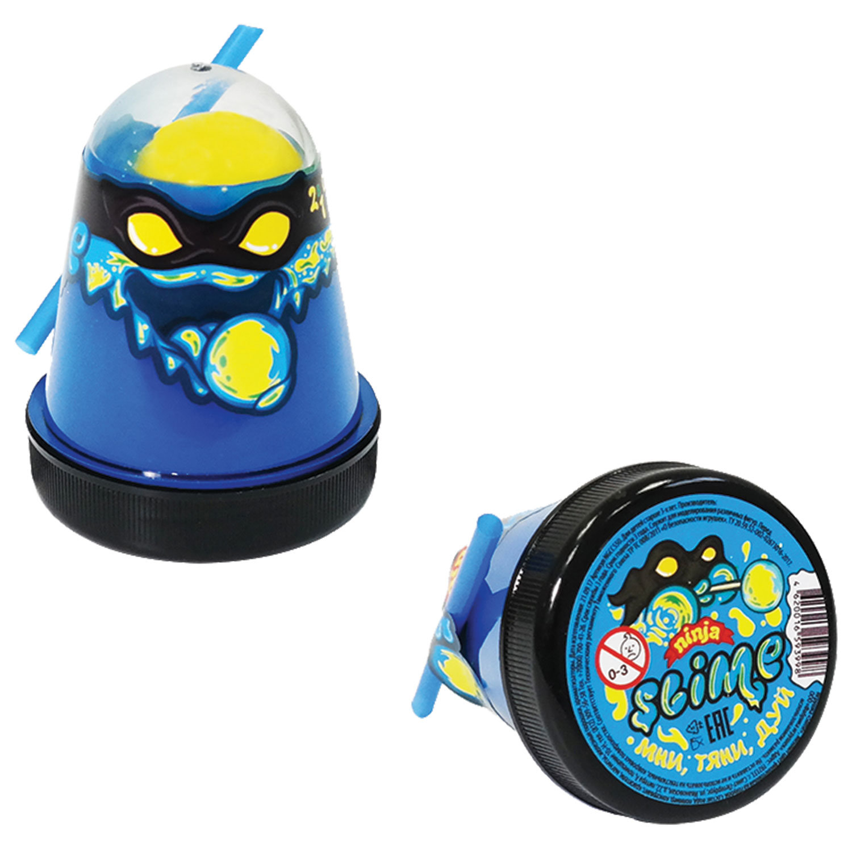 "Слайм (лизун) ""Slime Ninja"", 2 в 1, синий, желтый, 130 г, ВОЛШЕБНЫЙ МИР, S130-1"