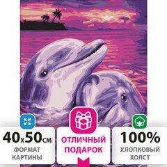 """Картина по номерам 40х50 см, ОСТРОВ СОКРОВИЩ """"Дельфины"""", на подрамнике, акриловые краски, 3 кисти, 662482"""