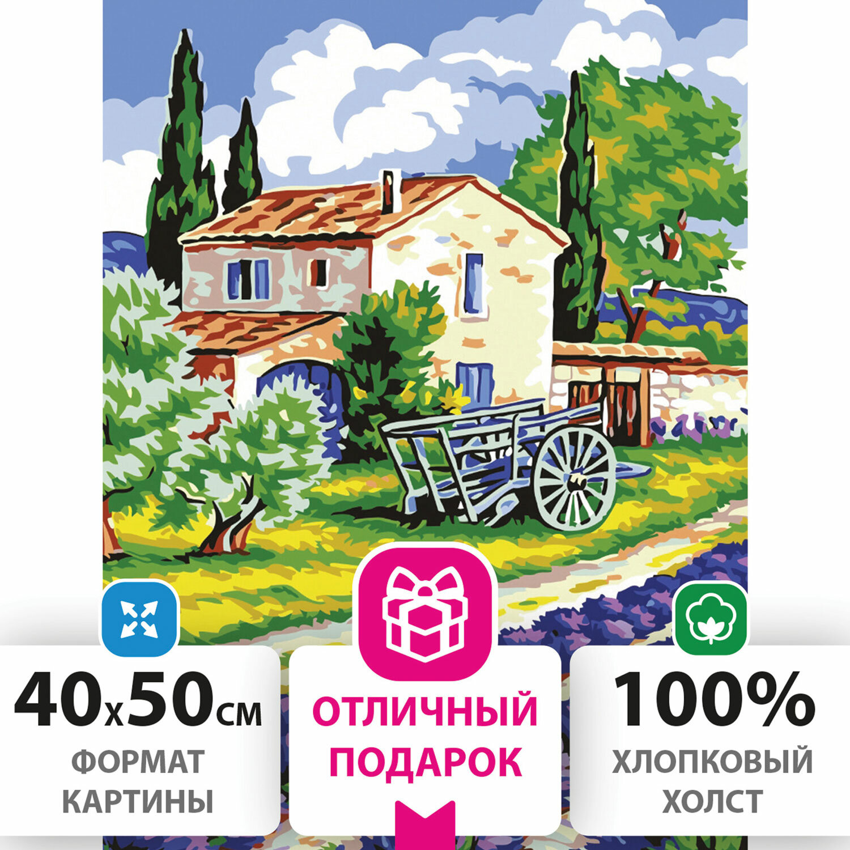 """Картина по номерам 40х50 см, ОСТРОВ СОКРОВИЩ """"Прованский пейзаж"""", на подрамнике, акриловые краски, 3 кисти, 662491"""