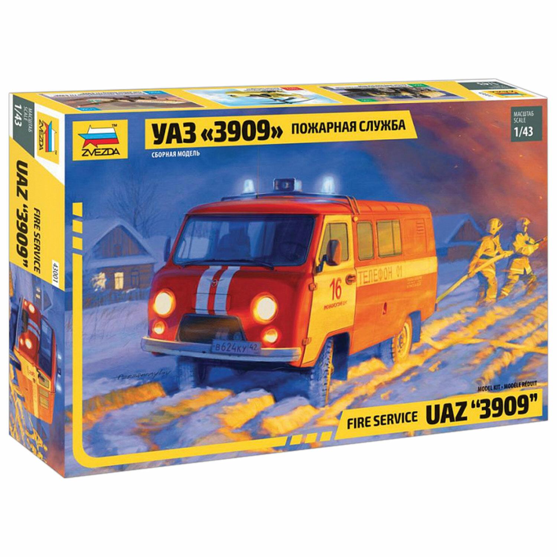"""Модель для склеивания АВТО Пожарная служба УАЗ """"3909"""", масштаб 1:43, ЗВЕЗДА, 43001"""