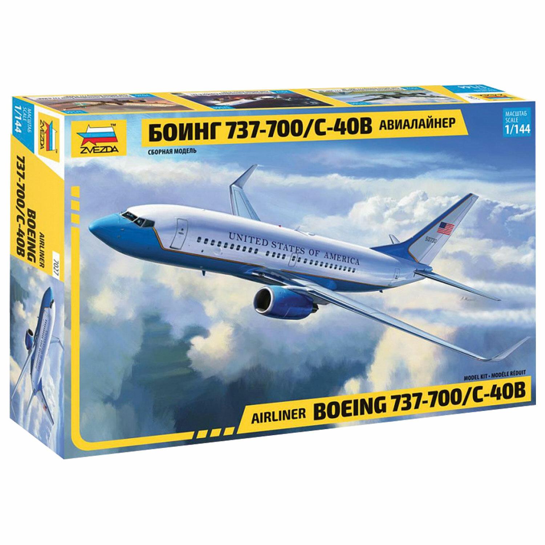 Модель для склеивания САМОЛЕТ Авиалайнер пассажирский Боинг 737-700 С-40В, масштаб 1:144,ЗВЕЗДА, 7027