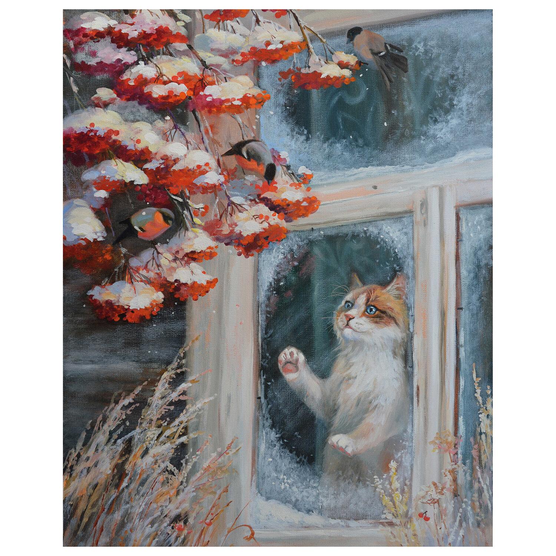"""Картина по номерам 40х50 см, ОСТРОВ СОКРОВИЩ """"Кот и снегири"""", на подрамнике, акрил, кисти, 662899"""