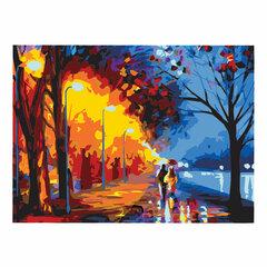 """Картина по номерам А3, ОСТРОВ СОКРОВИЩ """"Прогулка под дождем"""", акриловые краски, картон, 2 кисти, 663234"""