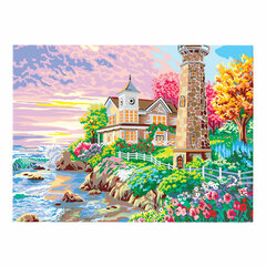 "Картина по номерам А3, ОСТРОВ СОКРОВИЩ ""Вилла у моря"", акриловые краски, картон, 2 кисти, 663250"