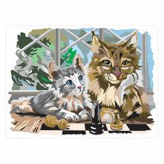 """Картина по номерам А3, ОСТРОВ СОКРОВИЩ """"Пушистые коты"""", акриловые краски, картон, 2 кисти, 663257"""