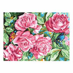 """Картина по номерам А3, ОСТРОВ СОКРОВИЩ """"Розовый куст"""", акриловые краски, картон, 2 кисти, 663263"""