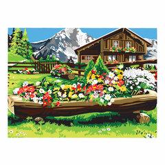 "Картина по номерам А3, ОСТРОВ СОКРОВИЩ ""Цветочная клумба"", акриловые краски, картон, 2 кисти, 663265"