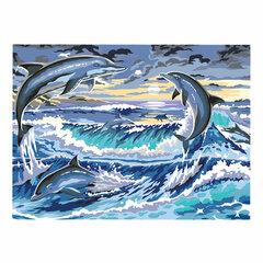 """Картина по номерам А3, ОСТРОВ СОКРОВИЩ """"Дельфины"""", акриловые краски, картон, 2 кисти, 663267"""