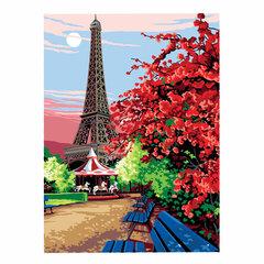 "Картина по номерам А3, ОСТРОВ СОКРОВИЩ ""Эйфелева башня"", акриловые краски, картон, 2 кисти, 663268"