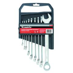 Набор ключей комбинированных 6-22 мм, 9 шт., MATRIX, CrV, хромированные, держатель с подвесом