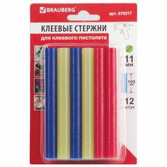Клеевые стержни, диаметр 11 мм, длина 100 мм, цветные (ассорти), КОМПЛЕКТ 12 штук, 6 цветов, BRAUBERG, блистер, 670317