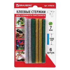 Клеевые стержни, диаметр 7 мм, длина 100 мм, цветные (ассорти), с блестками, комплект 6 штук, BRAUBERG, 670318