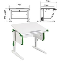 Стол-парта регулируемый ДЭМИ СУТ.24, 750х610х530-815 мм, белый/зеленый (КОМПЛЕКТ)